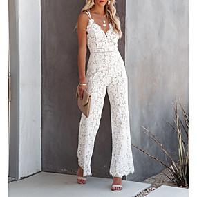 cheap -Women's Casual 2021 Wine White Black Jumpsuit Solid Color Lace