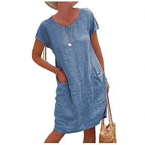 cheap -Women's Shift Dress Knee Length Dress Short Sleeve Solid Color Pocket Summer Round Neck Classic & Timeless Casual Loose 2021 S M L XL 2XL 3XL 4XL 5XL