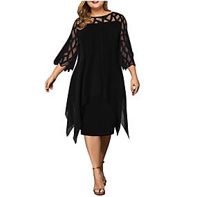 cheap -Women's Plus Size Dress Sheath Dress Knee Length Dress 3/4 Length Sleeve Solid Color Lace Casual Spring Summer White Purple Red Wine L XL XXL XXXL 4XL 5XL Chiffon