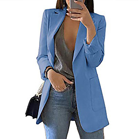 cheap -Women's Blazer Solid Color Classic Chic & Modern Long Sleeve Coat Fall Spring Casual Open Front Regular Jacket Wine / Peaked Lapel