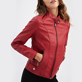 cheap -Women's Faux Leather Jacket Daily Fall & Winter Regular Coat Stand Collar Regular Fit Basic Jacket Long Sleeve Solid Colored Purple Camel