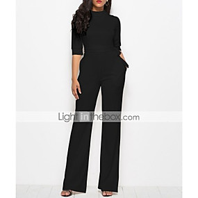 cheap -Women's Streetwear Daily White Black Red Jumpsuit Solid Colored