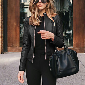 cheap -Women's Jacket Dailywear Fall Winter Coat Classic & Timeless Chic & Modern Jacket Solid Color Classic Style 7#Navy 1#black / Spring