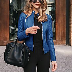 cheap -Women's Jacket Street Spring &  Fall Regular Coat Slim Fit Chic & Modern Jacket Long Sleeve Solid Color Zipper Light Pink Navy