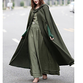 cheap -Women's Cloak / Capes Causal Fall Winter Long Coat Loose Basic Chic & Modern Jacket Sleeveless Solid Colored Blue Army Green / Spring