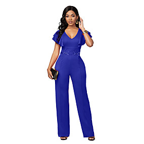 cheap -Women's Casual 2021 Blue Red Black Jumpsuit Solid Color