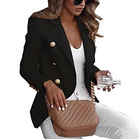 cheap -Women's Blazer Solid Colored Classic Style Work Long Sleeve Coat Fall Spring Causal Double Breasted Regular Jacket Blue / Notch lapel collar