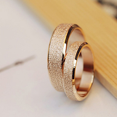 cheap Women's Jewelry-High Quality Titanium Steel Golden Dull Polish Couple Wedding Rings