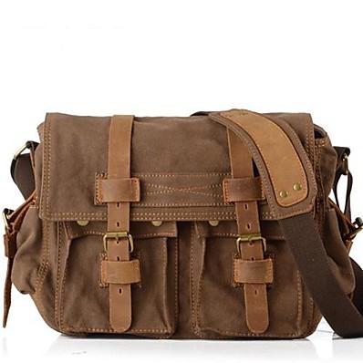 cheap Bags-Men's Unisex Bags Canvas Shoulder Messenger Bag Laptop Bag Crossbody Bag Daily Khaki Black Brown Coffee