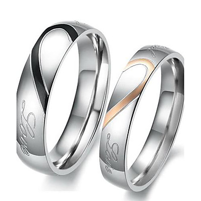 cheap Jewelry & Watches-Couple Rings Two tone Silver I Love You Titanium Steel Heart Love Friendship Ladies Simple Bridal 2pcs / Engagement Ring