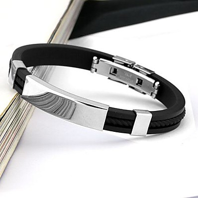 cheap ACCESSORIES-Men's Bracelet Bangles Fashion Stainless Steel Bracelet Jewelry White / Black / Yellow For Daily Casual Sports / Silicone