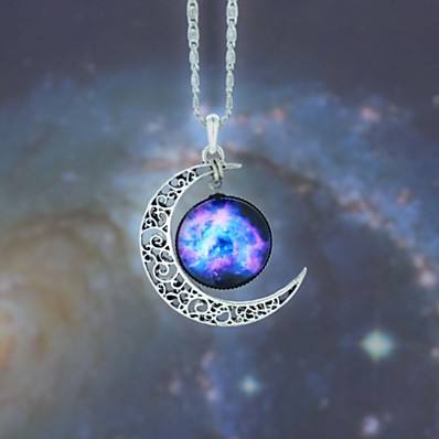 cheap ACCESSORIES-Women's Opal Pendant Necklace Long Necklace Engraved Moon Galaxy Crescent Moon Magic Ladies European Fashion Hippie Synthetic Gemstones Alloy Dark Blue / Fuchsia Black / Sky Blue Red / White Rainbow