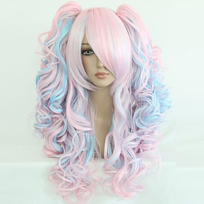 cheap Beauty & Hair-Cosplay Costume Wig Synthetic Wig Sweet Lolita Curly Wavy Loose Wave Natural Wave Curly Wig Blue / Black Rainbow Purple / Blue Pink / Blonde Pink blue Synthetic Hair 25 inch Women's Blonde Multi-color