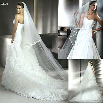 cheap Wedding Accessories-Two-tier Ribbon Edge Wedding Veil Chapel Veils with Flower Comb 94.49 in (240cm) Tulle / Mantilla
