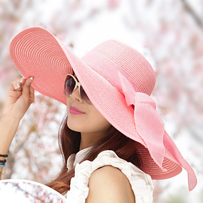 cheap Accessories-Women's Sun Hat Straw Vintage - Solid Colored Bow Summer White Navy Blue Pink / Hat & Cap