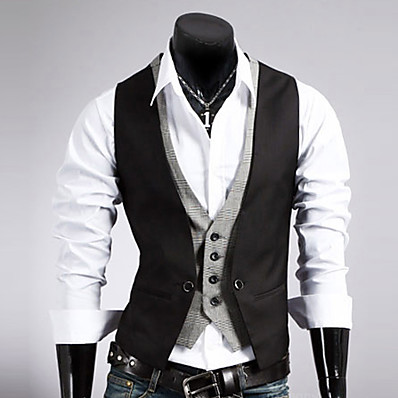 cheap Men's Outerwear-Men's Work Vest, Solid Colored Sleeveless Cotton / Polyester Black / Brown / Business Formal / Slim