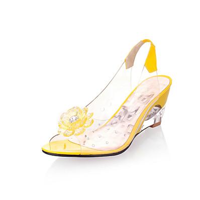 abordables Sandales-Femme Sandales Sandales Compensées Talons compensés Chaussures transparentes Hauteur de semelle compensée Bout ouvert Semelles Légères Gomme Eté Blanche Noir Jaune