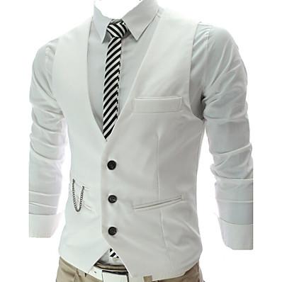 cheap Men's Outerwear-Men's Work Business All Seasons Regular Vest, Solid Colored Sleeveless Cotton / Polyester Black / Gray / Wine / Slim