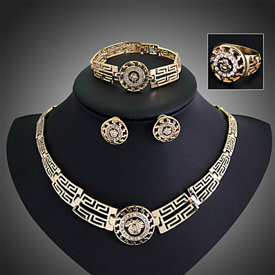 cheap Accessories-Women's Jewelry Set Stud Earrings Pendant Necklace Statement Ladies Work Casual Fashion Vintage Earrings Jewelry Gold For Party Special Occasion Anniversary Birthday Gift / Bracelet / Ring