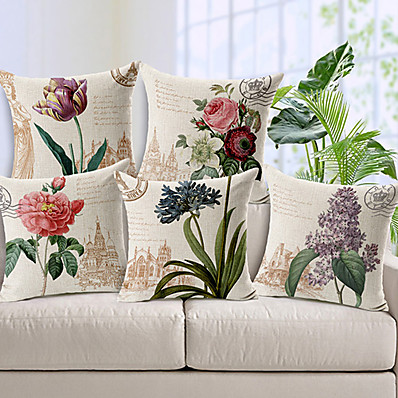 cheap Home Decor-Set of 5 Cotton / Linen Decorative Pillow Covers for Couch, Sofa, or Bed Modern Quality Design Leaves Floral Country Throw Pillow Cover
