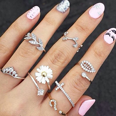 cheap ACCESSORIES-Knuckle Ring Stacking Stackable Gold Silver Rhinestone Imitation Diamond Alloy Leaf Flower Ladies Unusual Unique Design 3pcs / Women's / Rings Set