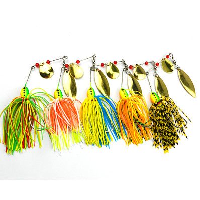 cheap Fishing-5 pcs Fishing Lures Spinnerbaits Bass Trout Pike Freshwater and Saltwater Sea Fishing