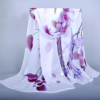 cheap Scarves & Bandanas-Women's Chiffon Scarf Orange Party Scarf Florals / Purple / Pink / Fall / Spring