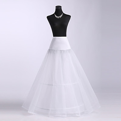 cheap Wedding Accessories-Wedding / Special Occasion Slips Polyester / Spandex / Tulle Floor-length A-Line Slip with Lace-trimmed bottom