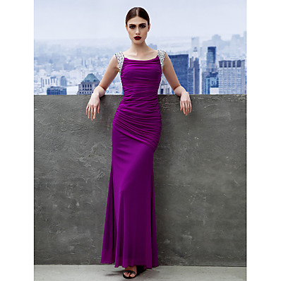 cheap Evening Dresses-Sheath / Column Scoop Neck Ankle Length Chiffon Minimalist Prom / Formal Evening Dress 2020 with Ruched