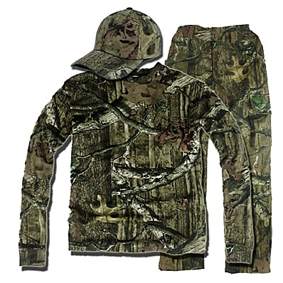cheap Hunting & Nature-Men's Camo Shirt Hunting Shirt with Pants Outdoor Fall Spring Summer Anti-Insect Breathable Sweat-Wicking Scratch Resistant Clothing Suit Long Sleeve Fleece Elastane Cotton Hunting Fishing Camouflage
