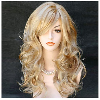 cheap Beauty & Hair-Synthetic Wig Body Wave Wavy With Bangs Wig Long Black Black / Red Blonde Synthetic Hair 22 inch Women's Side Part Blonde