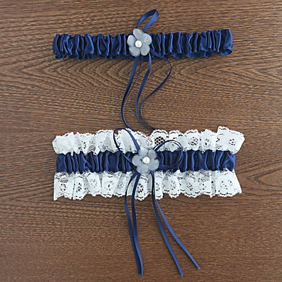cheap Wedding Accessories-Polyester Classic Wedding Garter With Lace / Flower Garters