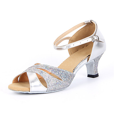 cheap SHOES & ACC-Women's Dance Shoes Sparkling Glitter Latin Shoes / Salsa Shoes Buckle Sandal Chunky Heel Non Customizable Silver / Blue / Gold / Suede / EU42
