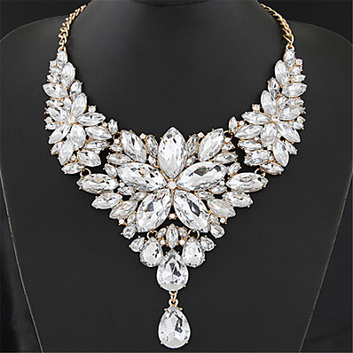 cheap ACCESSORIES-Women's Crystal Statement Necklace Bib Chunky Ladies Elegant Baroque Alloy Rainbow White Red Rose Gray 40+5 cm Necklace Jewelry 1pc For Wedding Party Anniversary Masquerade Engagement Party Prom