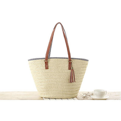 cheap Bags-Women's Bags Straw Tote Straw Bag Bohemian Style for Daily Light Brown Army Green Beige