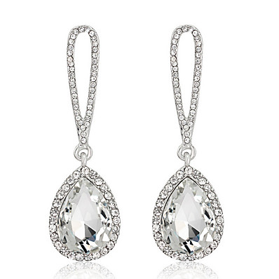 d644558db ADOR Women's Crystal Drop Earrings Dangle Earrings - Zircon Dark Red / Navy  / Champagne For Wedding Party Daily
