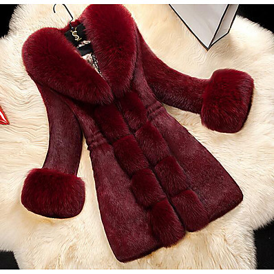 cheap NewIn-Women's Winter Fur Coat Maxi Solid Colored Daily White Black Red M L XL / Going out