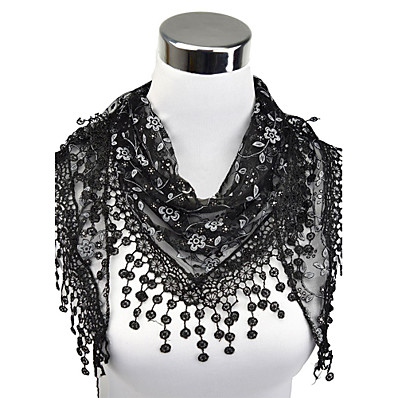 cheap ACCESSORIES-Women's Work Lace Rectangle Scarf - Floral Cut Out / Tassel / Fabric