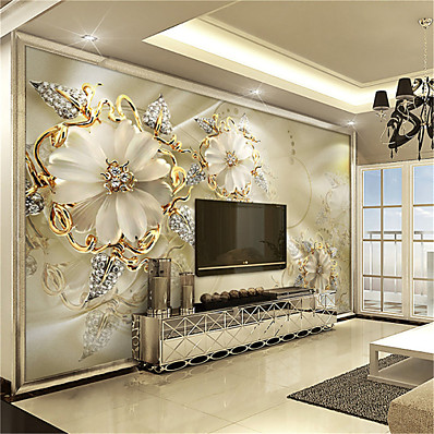 cheap Wall Art-3D Gold Flower Diamond Modern Bling Wall Mural Wallpaper Living Room Bedroom