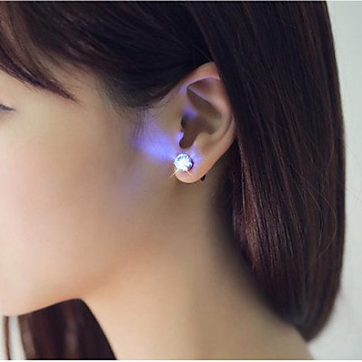 cheap Bath Accessories-2PCS LED Earring Light Up Crown Glowing Crystal Stainless Ear Drop Ear Stud Earring Jewelry