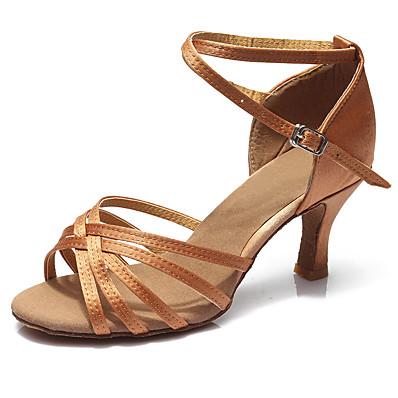 abordables Sandales pour Femme-Femme Chaussures de danse Chaussures Latines Salon Chaussures de Salsa Danse en ligne Sandale Talon Boucle Talon Cubain Léopard Brun Foncé Noir Boucle / Utilisation / Satin / EU40