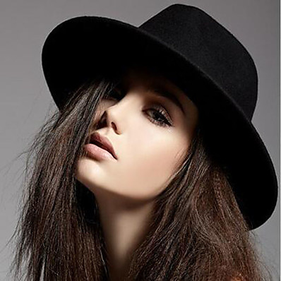 cheap Accessories-Women's Fedora Hat Party Wedding Daily Wine Black Pure Color Hat / Winter / Vintage