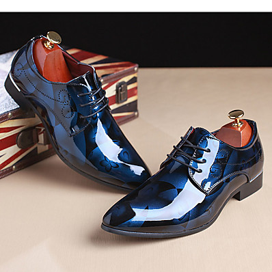 cheap Men's Shoes-Men's Printed Oxfords Patent Leather Spring / Fall Oxfords Light Brown / Red / Blue / Party & Evening / Party & Evening / Outdoor / Comfort Shoes / EU40