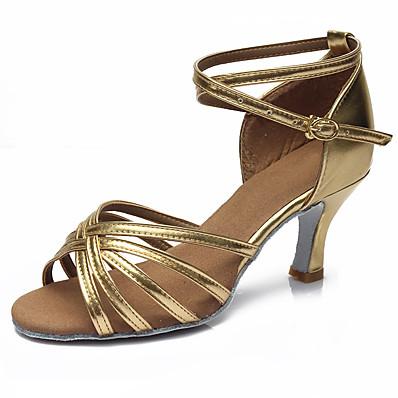 cheap Pumps & Heels-Women's Dance Shoes Latin Shoes / Ballroom Shoes / Salsa Shoes Sandal Heel Buckle Cuban Heel Customizable Leopard / Dark Brown / Black / Performance / Satin / EU40