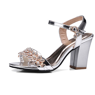 256b7fe06997 ADOR® Women s Shoes PU(Polyurethane) Summer   Fall Club Shoes Sandals  Chunky Heel Round Toe Rhinestone   Buckle Black   Silver   Pink   Wedding