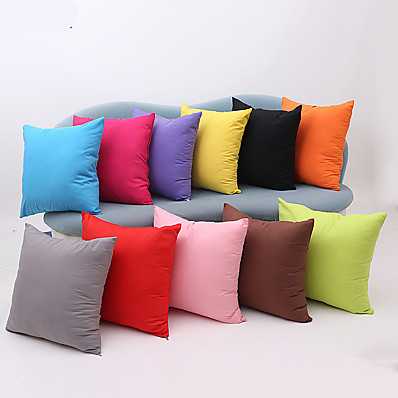 cheap Home Decor-1 pcs Cotton Pillow Cover, Solid Colored Multicolor Simple Square Zipper Traditional Classic