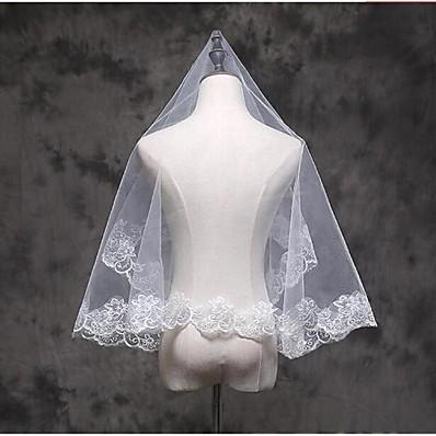 cheap Wedding Accessories-One-tier Lace Applique Edge Wedding Veil Elbow Veils / Fingertip Veils with Appliques Lace / Tulle / Classic