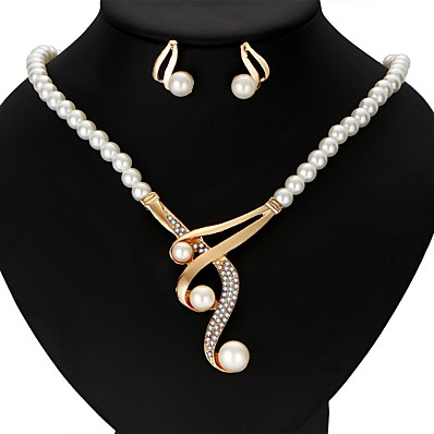 cheap Women's Jewelry-Women's Pearl Jewelry Set Earrings Y Necklace Victorian Ladies Luxury Ribbons Elegant everyday Earrings Jewelry Gold For Wedding Party Anniversary Gift Casual Masquerade