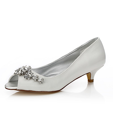 51694cd930b ADOR® Women s Shoes Silk Spring   Summer Comfort   Dyeable Shoes Wedding  Shoes Low Heel Round Toe   Peep Toe Sparkling Glitter   Buckle Ivory   Party    ...