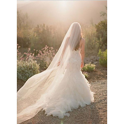 cheap Wedding Accessories-One-tier Cut Edge Wedding Veil Chapel Veils with Flower Comb Tulle / Angel cut / Waterfall